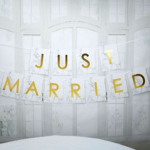 Just Married slinger large Marmer Goud