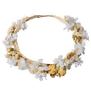 Bloemenkrans droogbloemen wit