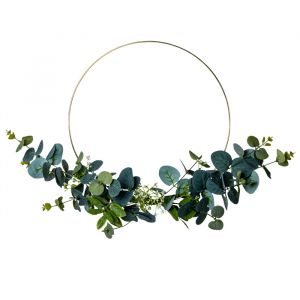 Metalen decoratiecircel eucalyptus