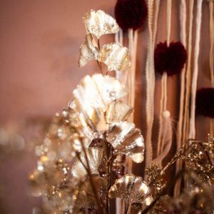 Decoratietak Ginkgo pailletten champagne