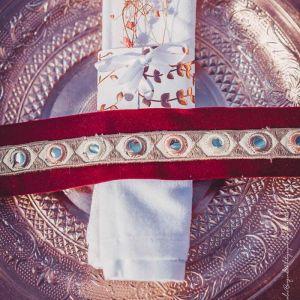 Plaklint met spiegeltjes ivoor/roze