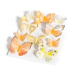 Decoratie vlinders geel en oranje (10st)