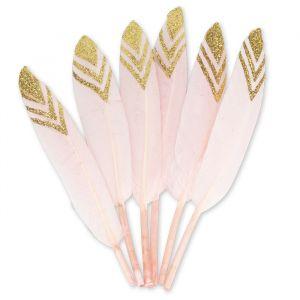 Decoratie veren roze/goud (6st)