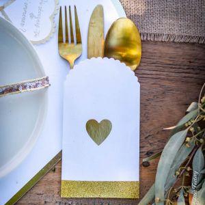 Insteekhoesjes bestek Gold Hearts (8st)