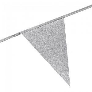 Slinger vlaggen glitter zilver