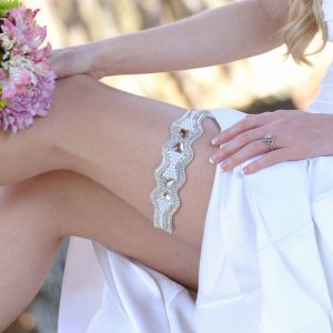 Kousenband Mrs Monroe Wit/Zilver Pink Pewter