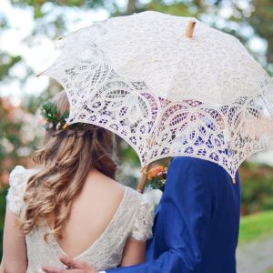 Kanten parasol Sienna Ivoor