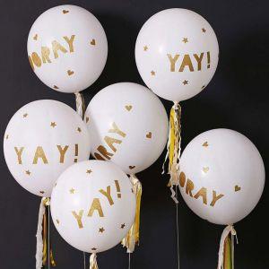 Ballonnenset Hooray Wit-Goud (8st)