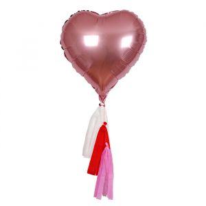 Folieballonnen hart met tassels (6st) Meri Meri