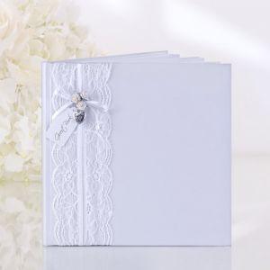 Gastenboek wit met kant