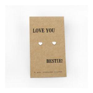 Love Bestie zilveren oorbellen