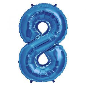 XL Folieballon 8 (90cm) Blauw