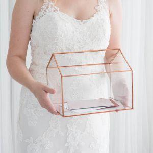 Glazen enveloppendoos huis roségoud