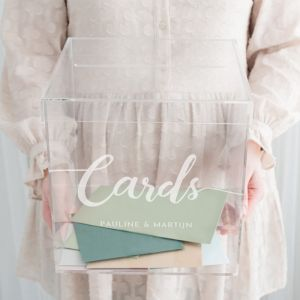 Enveloppendoos acryl cards met namen