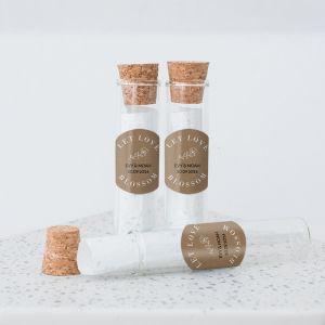 Glazen buisje met groeipapier kraft