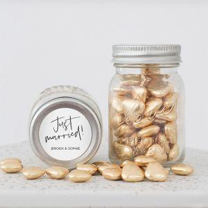 Mini mason jar modern trouwbedankje