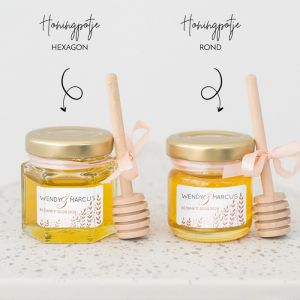 Honingpotje trouwbedankje koperkleurige takjes