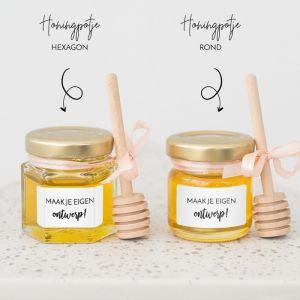 Honingpotje trouwbedankje eigen ontwerp