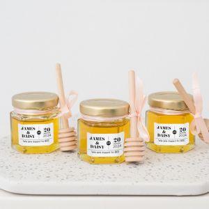 Honingpotje trouwbedankje typografie