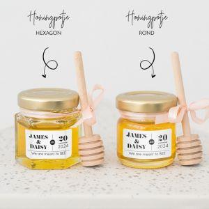Honingpotje trouwbedankje typografie zwart/wit