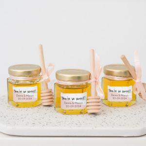 Honingpotje trouwbedankje marmer