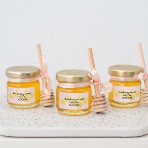 Honingpotje trouwbedankje roze goud