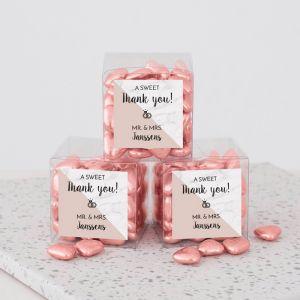 Bedankdoosje bruiloft Soft Marble vierkant