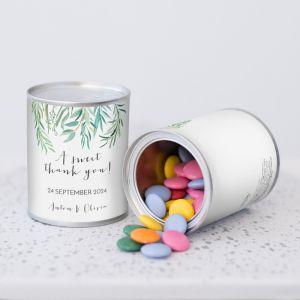 Blikje chocopastilles lovely eucalyptus bedankje bruiloft