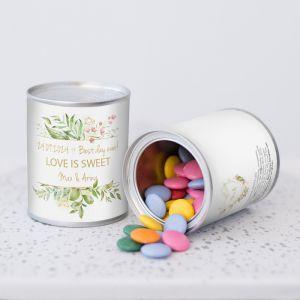 Blikje chocopastilles geometric floral bedankje bruiloft
