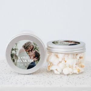 Snoeppot PET klein trouwbedankje met foto