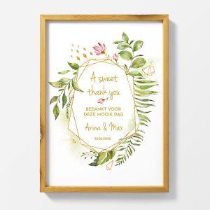 Poster bruiloft bedankjes geometric floral