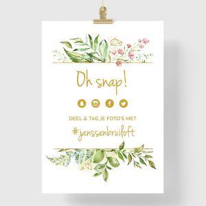 Poster bruiloft hashtag geometric floral