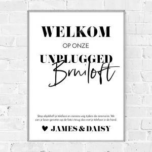 Poster unplugged bruiloft modern typografisch