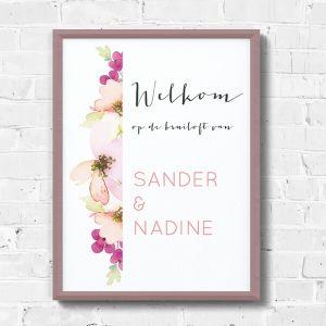 Poster waterverf bloemen welkom