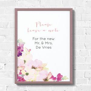 Poster waterverf bloemen gastenboek