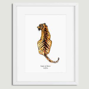 Aquarel poster tijger illustratie door Sophie de Ruiter