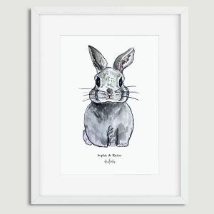 Aquarel poster meneer konijn illustratie Sophie de Ruiter