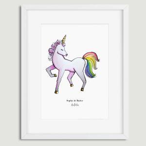 Aquarel poster eenhoorn illustratie door Sophie de Ruiter