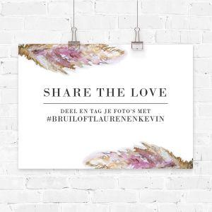 Poster bruiloft hashtag pampas gras