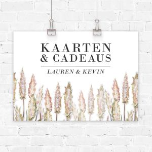 Poster kaarten en cadeaus bruiloft pampas gras