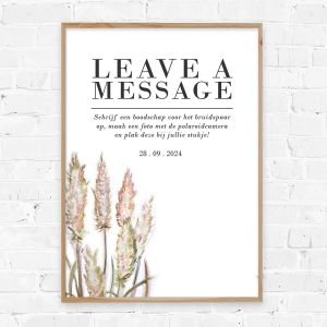 Poster gastenboek pampas gras
