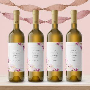 Wijnfleslabel waterverf bloemen