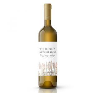 Wijnfleslabel pampas gras getuigen vragen