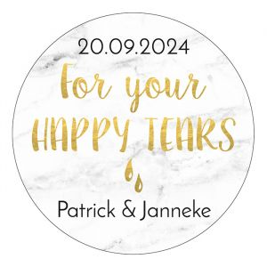 Etiket rond 35mm marmer for your happy tears goudfolielook