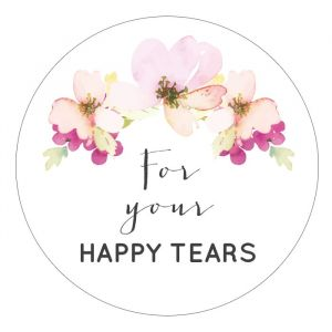 Happy Tears etiket 35mm waterverf bloemen