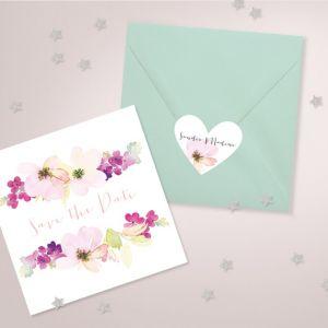 Etiket hart waterverf bloemen