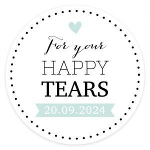 Etiket rond 35mm happy tears Lovely lettertypes