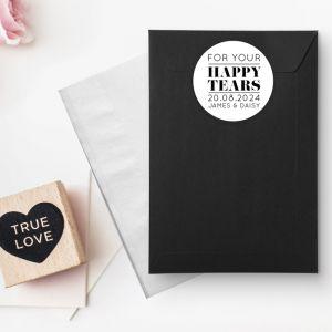 Etiket rond 35mm happy tears Modern paper