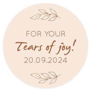 Etiket rond 35mm happy tears met takjes