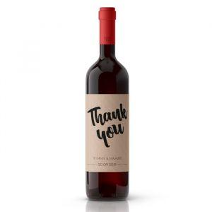 Wijnfleslabel kraft bedankt bruiloft